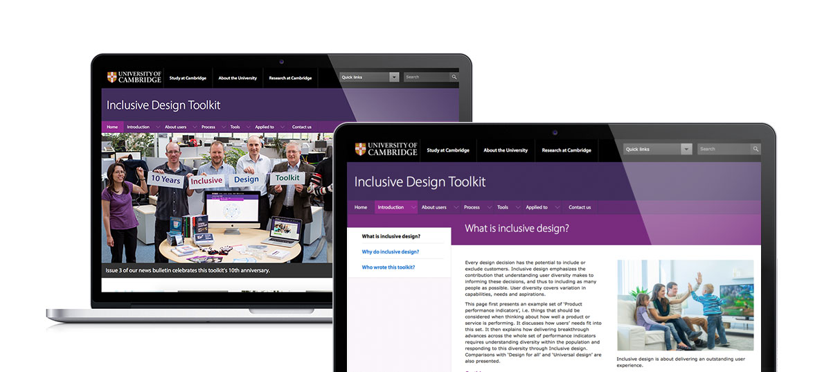 Screen grab of the Inclusive Design Toolkit