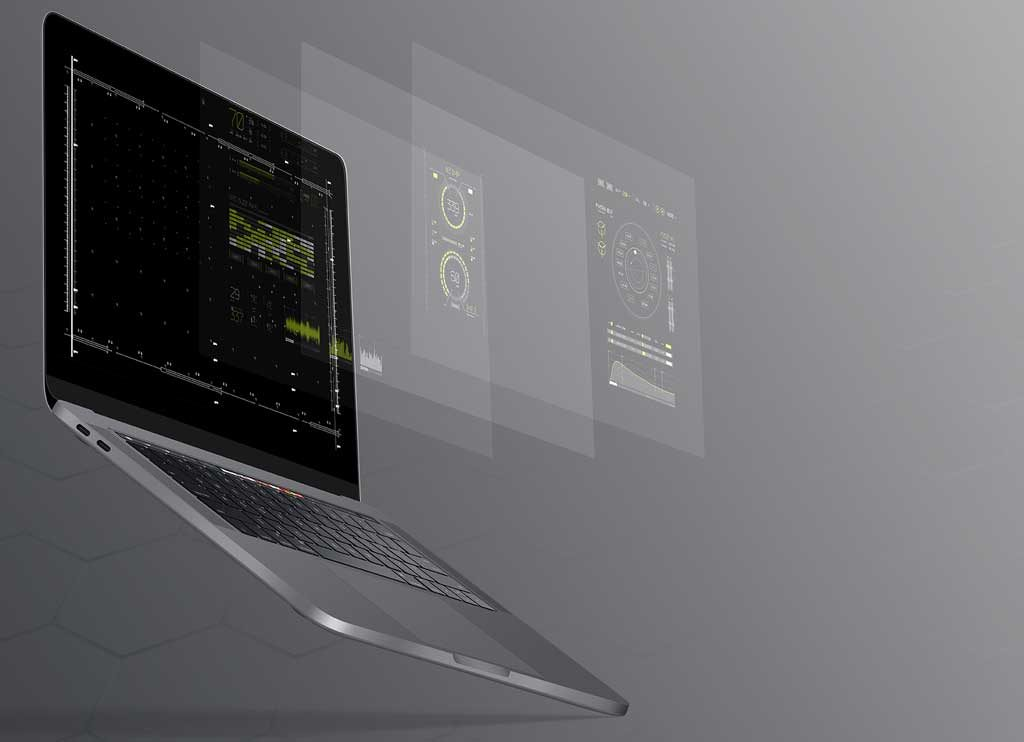 Laptop mock-up with layers of information floating outside the screen.
