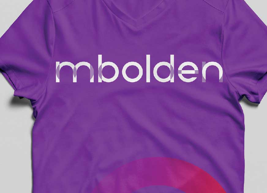 White mBolden Logo over a purple t-shirt