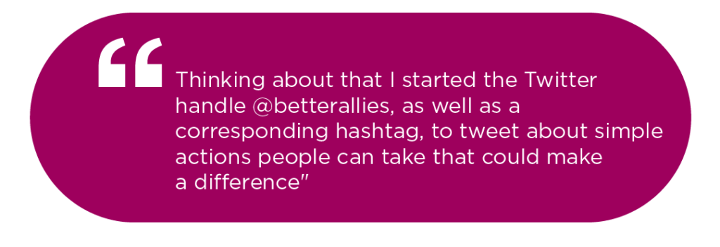 Quote on use of hashtag to make a difrence. By Karen Catlin