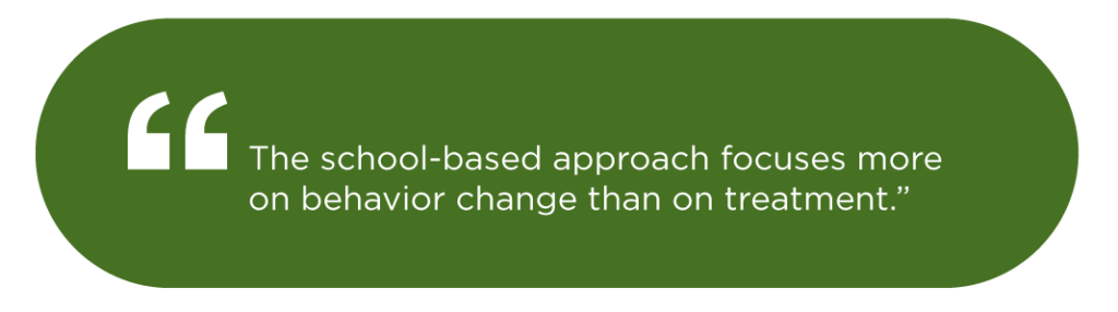 The school-based approach focuses more on behavior change than on treatment.""