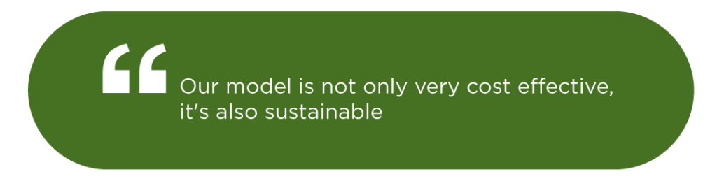 Our model is not only very cost effective, it's also sustainable