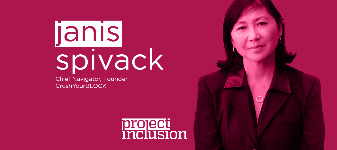 Janis SPivack photo, Project Inclusion logo