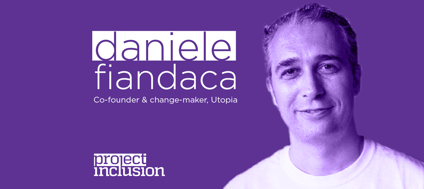 Portrait of Daniele Fandaca on a purple duotone with the logo Project Inclusion