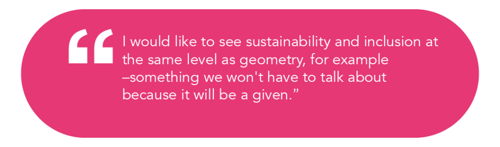 I would like to see sustainability and inclusion at the same level as geometry, for example –something we won't have to talk about because it will be a given.