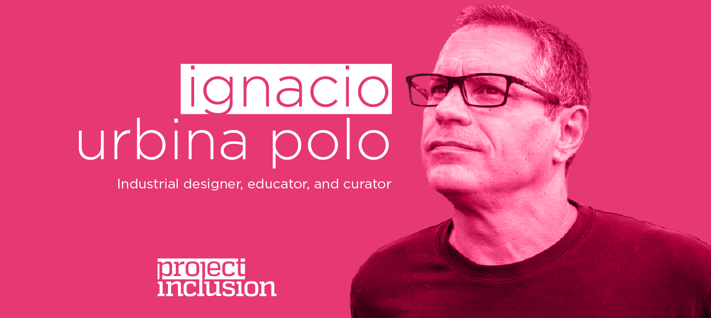 fucsia graphic with a duotone portrait of Ignacio, his name and Project Inclusion logo.