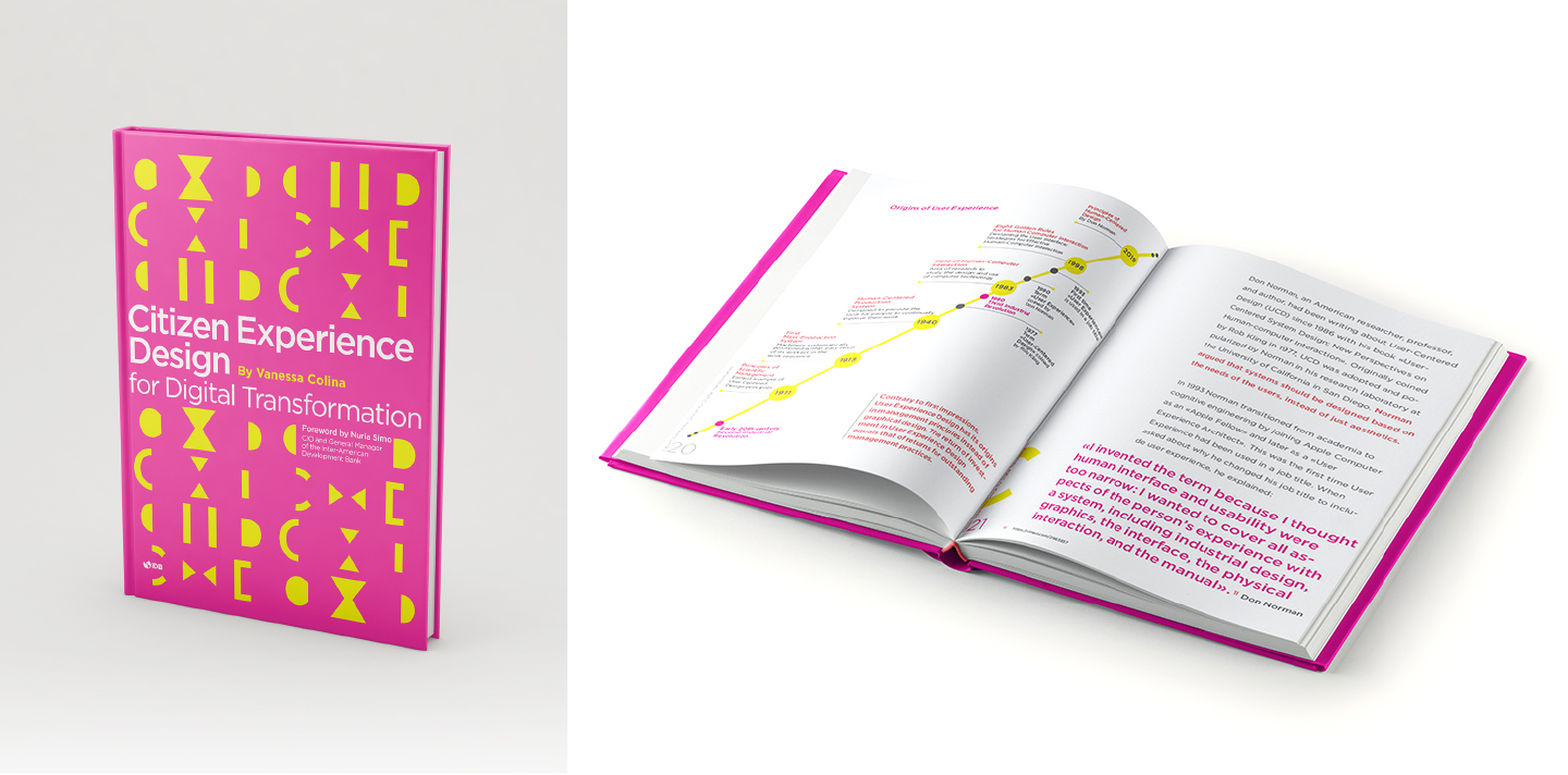 photo of the book and an inside spread of the book